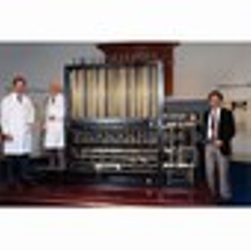 Difference Engine No. 2 (part), 1991, (l-r) Barrie Holloway, Reg Crick, Doron Swade