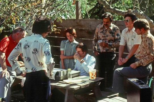 1976 two-network test, from Rossotti's/Alpine Inn beer garden. Pictured left to right: Cone, visitor, Geannacopolus, Retz, Kunzelman, McClurg, Mathis.