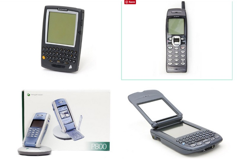 Top left to right: BlackBerry 5810 GSM wireless device and i-mode phone; Bottom left to right: Ericsson P800 phone and BlackBerry 5810 GSM wireless device