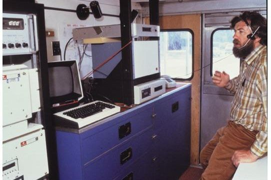 Van interior, looking toward right rear corner. Earl Craighill is standing.