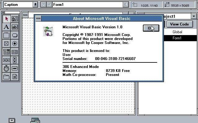 Visual Basic 1.0 About Box screenshot, crediting Cooper Software, Inc.Image from https://winworldpc.com/product/microsoft-visual-bas/10