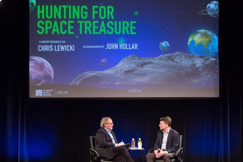 "John Hollar interviews Planetary Resources CEO Chris Lewicki during CHM Live's ""Hunting for Space Treasure,"" March 9, 2017."