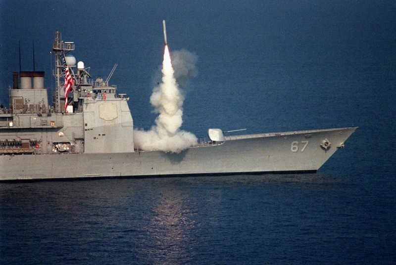 A Tomahawk missile is released for the U.S. Navy cruiser USS Shiloh (CG 67) in the Arabian Gulf in 1996.