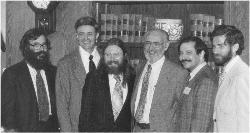 Early APL developers, from left to right: Dick Lathwell, Ken Iverson, Roger Moore, Adin Falkoff, Phil Abrams, Larry Breed. The photo was taken about 1983.