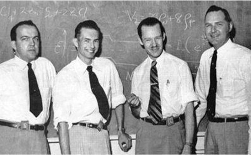 The 1954 Texas Instruments' silicon-transistor team: W. Adcock, M. Jones, E. Jackson, and J. Thornhill, Courtesy of Texas Instruments, Inc.