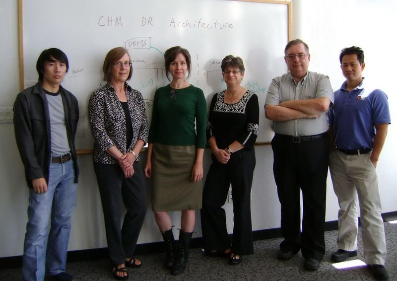 Digital Repository core team from left to right: Ton Luong, Katherine Kott, Heather Yager, Paula Jabloner, Al Kossow, and Vinh Quach.