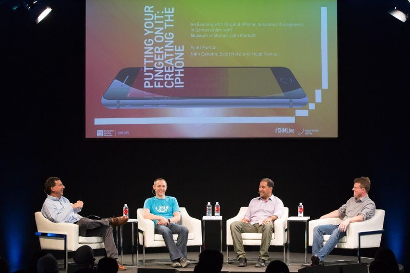 On the CHM Live stage, from left to right: John Markoff, Hugo Fiennes, Nitin Ganatra, and Scott Herz.