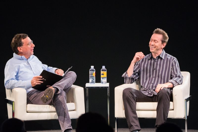 On the CHM Live stage: Pulitzer Prize-winning journalist John Markoff with iPhone software leader Scott Forstall.