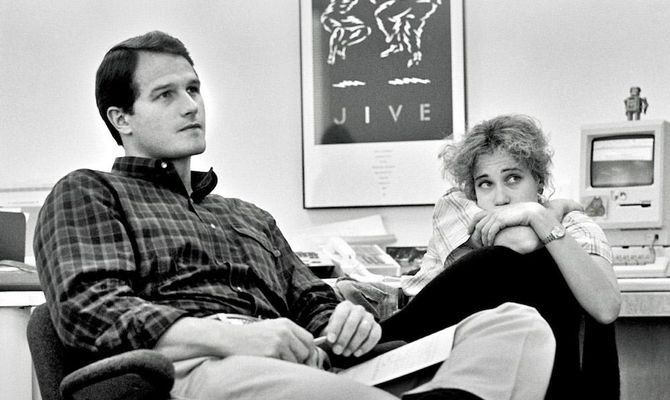 NeXT's Vice President of Sales and Marketing Dan'l Lewin and Creative Director Susan Kare, 1986–1987. Photograph by and courtesy of Doug Menuez.