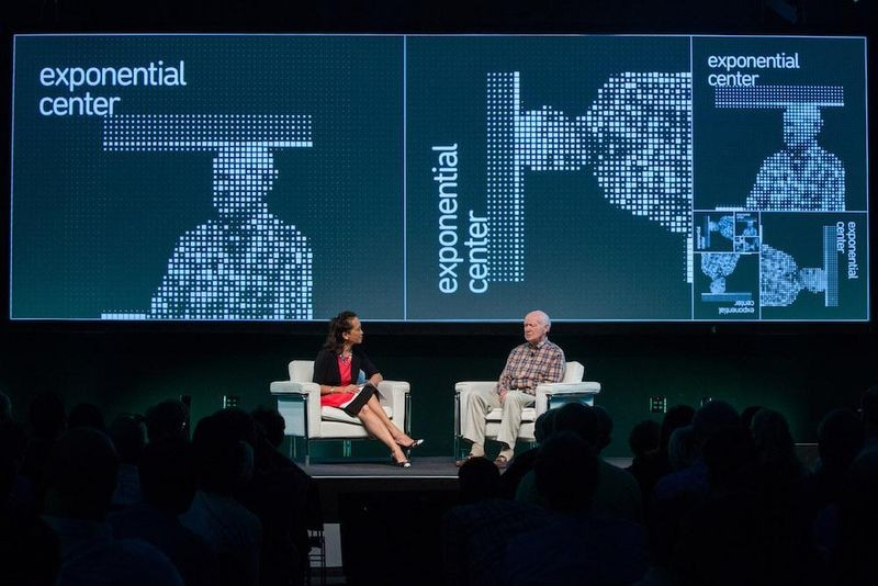 Exponential's Marguerite Gong Hancock in conversation with Silicon Valley marketing guru Regis McKenna during the Exponential Center launch symposium, June 3, 2016.