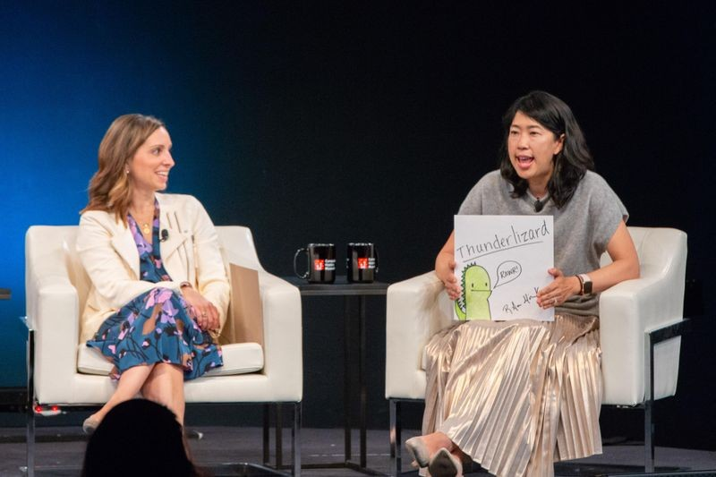 "Floodgate venture capitalist Ann Miura-Ko explains that a ""Thunderlizard"" is a go-getter entrepreneur while TaskRabbit founder Leah Busque looks on."