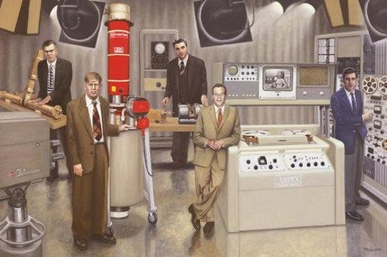 Terry Guyer, <em>Post WWII Inventors—Five Inventors</em>; oil on linen, 72 x 108 in. Left to right: William W. Hansen (raveling wave tube); Russell H. Varian (klystron); Felix Bloch (nuclear magnetic resonance imaging); Charles P. Ginsberg (video tape recorder); and Ray Dolby (noise reduction system).