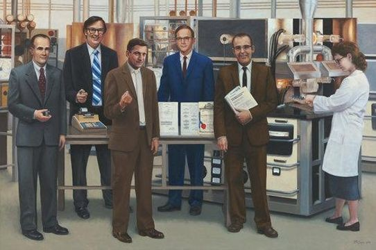"Terry Guyer, <em>Semiconductors—Five Inventors</em>; oil on linen, 72 x 108 in. Left to right: William Shockley (coinventor transistor); Marcian E. ""Ted"" Hoff Jr. (microprocessor); Robert N. Noyce (integrated circuit); Jean Hoerni (planar technology); Gordon Moore (Moore's Law); and furnace operator unknown."