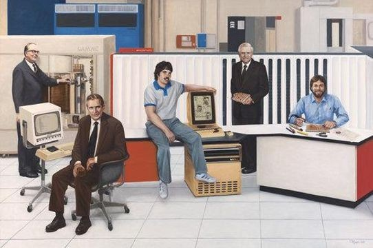 Terry Guyer, <em>Computers—Five Inventors</em>; oil on linen, 72 x 108 in. Left to right: Reynold Johnson (magnetic disc storage); Douglas Engelbart (interactive computing and mouse); Alan C. Kay (with GUI computer interface and Alto computer at PARC); Gene Amdahl (air-cooled mainframe computer); and Steve Wozniak (personal computer).