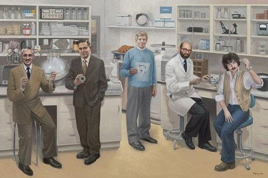 Terry Guyer, <em>Biotechnology—Five Inventors</em>; oil on linen, 72 x 108 in. Left to right: Alejandro Zaffaroni (drug delivery system); Carl Djerassi (birth control pill); William J. Rutter (Hepatitis B vaccine); Stanley N. Cohen (recombinant DNA); and Herbert W. Boyer (recombinant DNA).