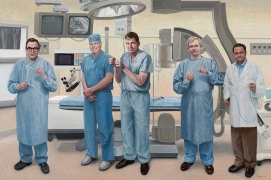 Terry Guyer, <em>Medical Devices—Five Inventors</em>; oil on linen, 72 x 108 in. Left to right: Thomas S. Fogarty (embolectomy balloon catheters); Rodney Perkins (LaserScope); John Simpson (angioplasty balloon slidaby mounted on guidewire); Paul Yock (rapid exchange angioplasty catheter); and Mir A. Imran (ablation catheter).