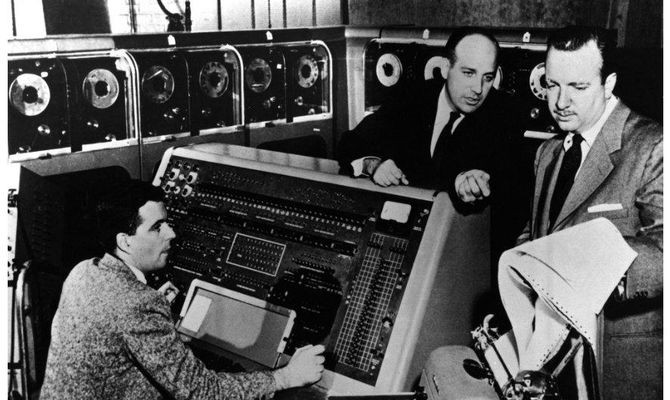 "Preparing for CBS to use a UNIVAC in its 1952 election coverage, UNIVAC designer J. Presper (""Pres"") Eckert and operator Harold Sweeney show the machine to American news icon Walter Cronkite."