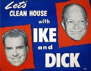 1952 US Presidential Election campaign poster featuring Eisenhower and Nixon as the Republican ticket.