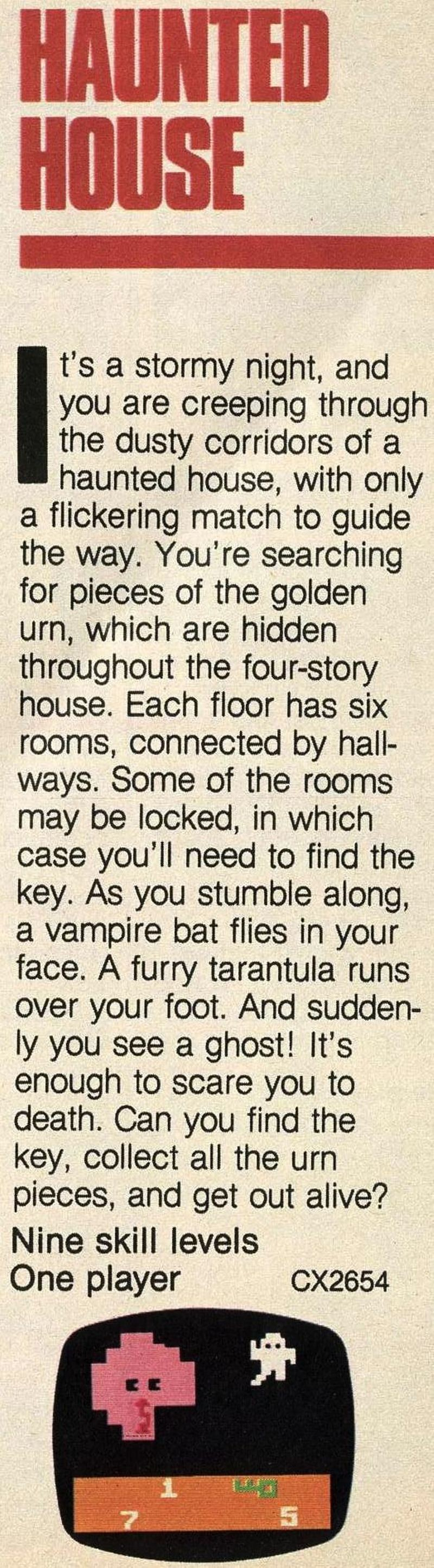Haunted House entry in the 1981 Atari Catalog.