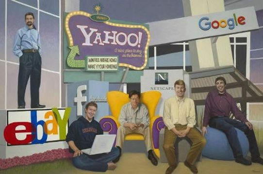 Terry Guyer, <em>Internet Commerce Pioneers of Silicon Valley—Five Inventors</em>; oil on linen, 72 x 108 in. Left to right: Pierre Omidyar, Mark Zuckerberg, Jerry Yang, Marc Andreessen, and Larry Page.