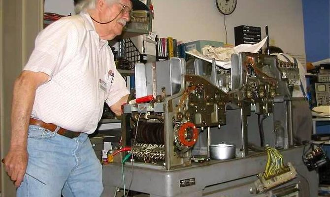 "Bob Erickson restored a 513 Reproducing Card Punch, shown here, and an 077 Collator from the 1940s. Both used control panel ""plug boards"" to define how they processed stacks of punched cards. Decades of wiring control panels was replaced with software applications running on stored program computers, primarily the IBM 1401."