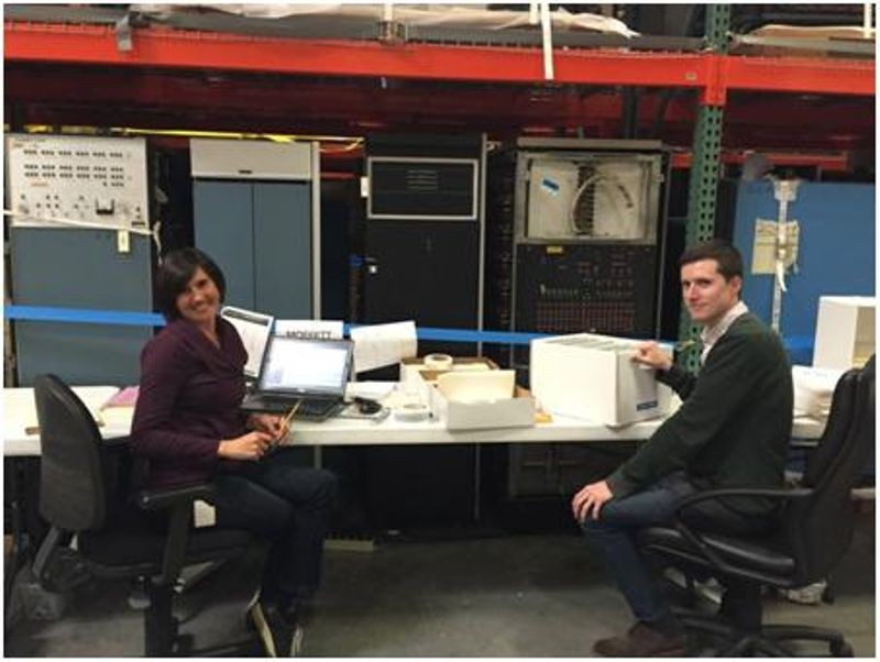 CHM APP Assistant Archivist Kim Hayden (left) and Project Archivist Bo Doub (right) pause from processing the Jim Porter Papers at the Museum's offsite storage facility.