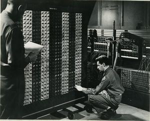 "ENIAC's function tables, which were banks of switches that could be manually dialed to represent digits from 0 through 9, were a form of read-only memory (ROM) used initially to store constant data. Values could be read from them into ENIAC's vacuum tube-based accumulators at full electronic speeds. After its 1948 conversion, programs' instructions, coded as decimal numbers, were stored in the function tables instead. One of these function tables is displayed in the Computer History Museum's ""Birth of the Computer"" gallery."