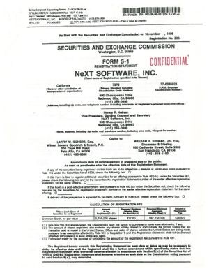 NeXT Software, Inc. SEC Form S-1 (1996) CHM#102724825.
