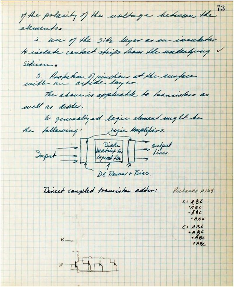 Noyce notebook showing his implementation of an integrated adder function