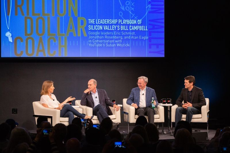YouTube CEO Susan Wojcicki leads a discussion with Google's Jonathan Rosenberg, Eric Schmidt, and Alan Eagle about the wisdom of their coach Bill Campbell at CHM on April 26, 2019.