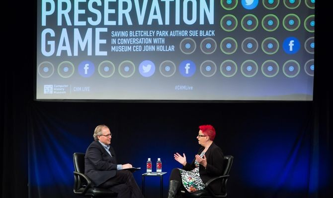 """The Preservation Game: Saving Bletchley Park Author Sue Black in Conversation with Museum CEO John Hollar,"" December 7, 2016. Produced by CHM Live at the Computer History Museum."