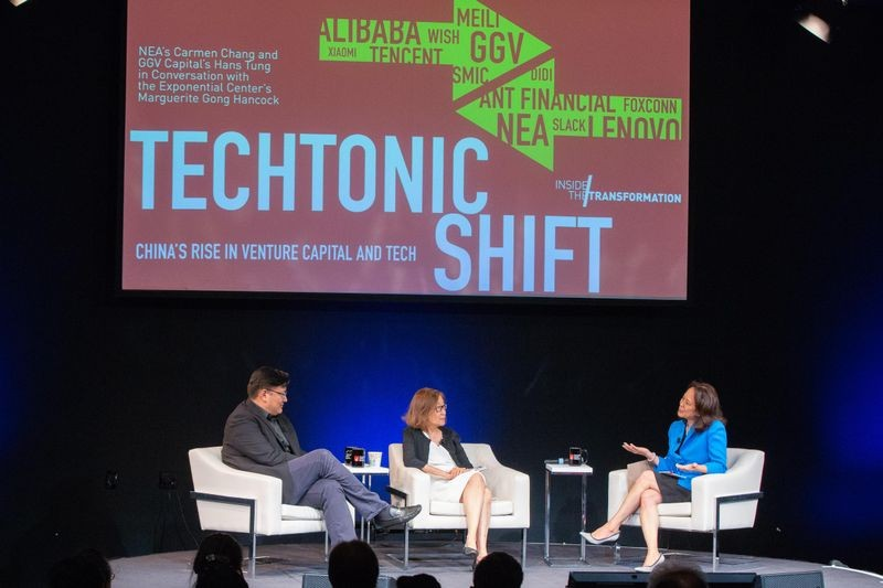 Venture capitalists Hans Tung of GGV Capital and Carmen Chang of New Enterprise Associates in conversation with CHM Exponential Center Executive Director Marguerite Gong Hancock at the Museum on June 20, 2018.