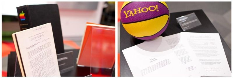 The pop-up exhibit showcased Apple's 1977 Private Placement Memorandum submitted to Venrock from former Venrock partner Ray Rothrock, Apple IPO documents, a Yahoo branded volleyball, and Yahoo's original business plan from 1995.