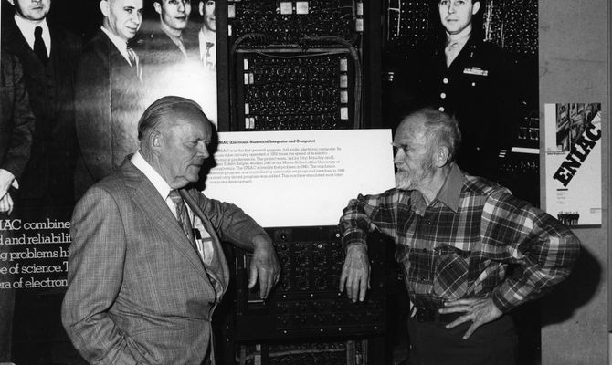 D. H. Lehmer (left) and Dick Clippinger (right) in front of ENIAC exhibit at The Computer Museum, Collection of the Computer History Museum, 102622619