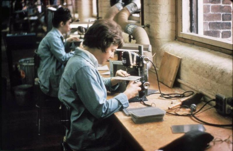 Women made up a vital component of the DEC workforce, especially in the assembly and test operations of the computer production line. This photo from about 1965 shows two technicians drilling small holes into printed circuit boards, which would eventually comprise a computer. Digital Equipment Corporation Records at the Computer History Museum, 102755967.