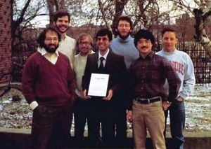 UIUC's winning team (from left): Stephen Wolfram, Stephen Omohundro, Arch Robison, Steven Skiena, Bartlett Mel, Luke Young, and Kurt Thearling. Source: University of Illinois