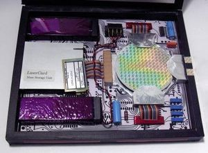 Inner workings of the UIUC Tablet prototype including the LaserCard Mass Storage Unit (L)