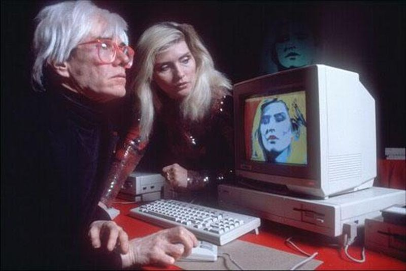 Andy manipulates Debbie Harry's image using ProPaint on the Amiga 1000