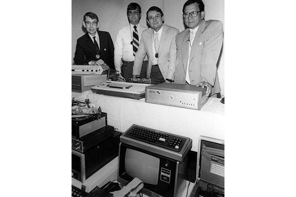 Left to right – John Blankenbaker, Don Pond, Lee Felsenstein, and Thi Truong at the Computer Museum's Personal Computers Pioneer Day, 1986.