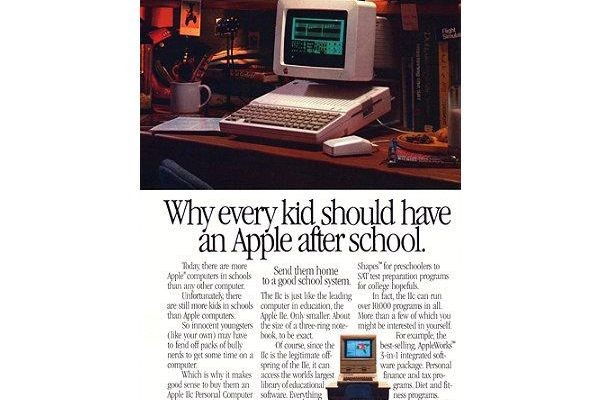 "Apple was successful in the school market from the earliest days of the first Apple II. This fourth model in the Apple series was pitched at ""preschoolers to . . . college hopefuls."" (1982)"