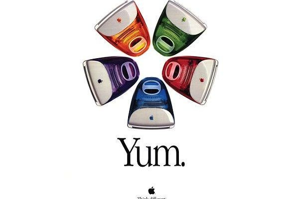 "The colors of the translucent cases of the iMac (blueberry, grape, lime, strawberry, and tangerine) were often described as ""flavors."" Steve Jobs commented, ""We knew we had to name them after things you eat, because you just want to walk up and lick them."" (1997)"
