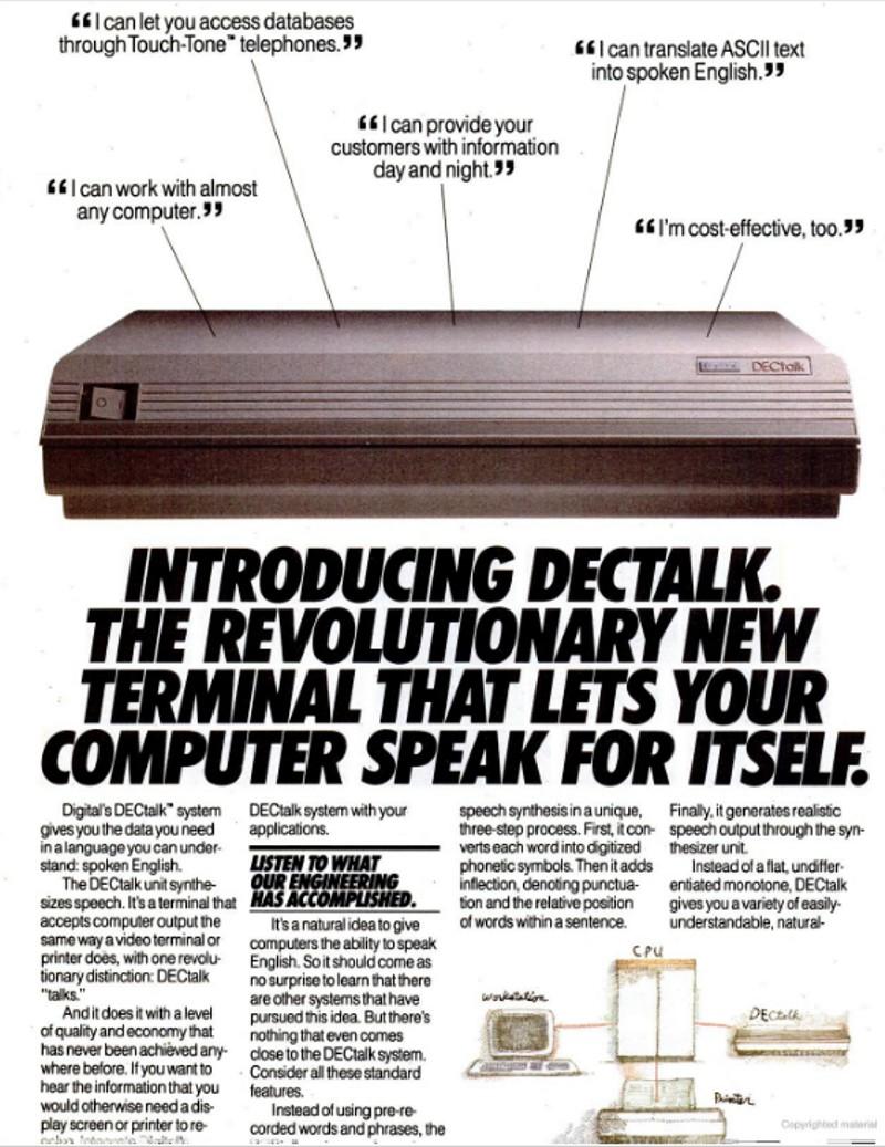 DECtalk advertisement, 1984