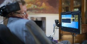 Stephen Hawking interacting with the ACAT system. Image: itpro.co.uk.