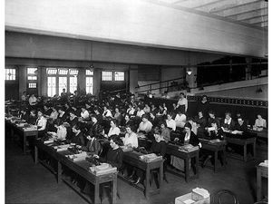 "Women workers in a calculation ""factory,"" 1930s.