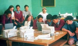 Students at the Lamdon School using the desktop publishing system devised by Ken Krugler