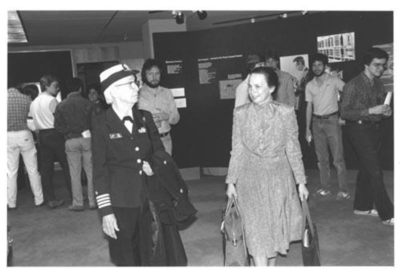 Adm. Grace Murray Hopper (left) and Computer Museum founder Gwen Bell (right) at the Museum in 1986.