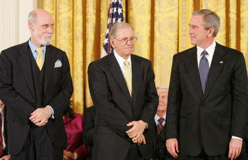 Vint Cerf (Left), and Bob Kahn (Center) were honored with the Presidential Medal of Freedom by President Bush in 2005.