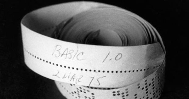 BASIC 1.0 paper tape for the Altair 8800 donated to the Computer History Museum by Bill Gates.