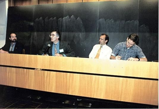 Part of the closing panel, from left to right: Dr. Joseph Hardin, NCSA; Robert Cailliau, CERN; Tim Berners-Lee, CERN; Dan Connolly, HaL Software. 