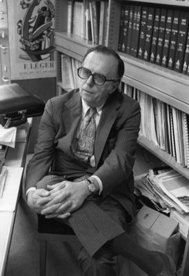 "J.C.R. Licklider (1915-1990), known as ""Lick,"" was a computer visionary who had great influence on research directions though his leadership at ARPA and then MIT's Project MAC. He was soft spoken, but clear in promoting a human-centered approach to interactive systems design. His famed 1960 essay on ""Man-Computer Symbiosis"" made clear that users ""will set the goals, formulate the hypotheses, determine the criteria, and perform the evaluations. Computing machines will do the routinizable work that must be done to prepare the way for insights and decisions in technical and scientific thinking."" I enjoyed his visit to our group at the University of Maryland in April 1979, when I took this photo, and soon after appreciated his kindness as my host to speak at MIT."